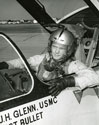 "John Glenn in the cockpit of his F8U-1P Crusader during the ""Project Bullet"" record breaking transcontinental flight, 1957"