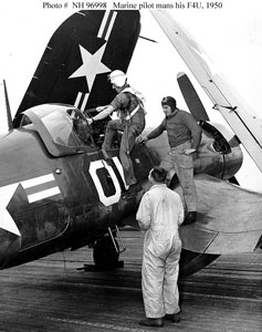 Capt. Booker with F4U-5P on USS Valley-Forge